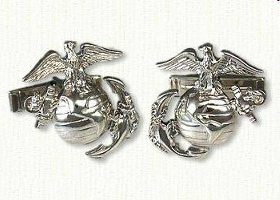 marine corps cuff links shown in sterling silver. Black Bedroom Furniture Sets. Home Design Ideas