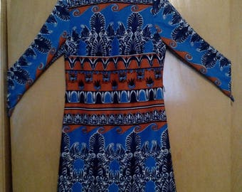 Clearance was 69 now 59. 60s/70s Egyptian Style Psychedelic/Psychadelic Geometric Mod Dress