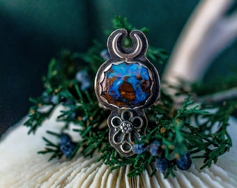 Rings, Boho Jewelry, Boho Ring, Silver Boho Ring, Boulder Opal Ring, Sterling Ring, Silversmith Ring, Moon Ring, Filigree Ring