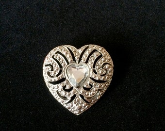 Lovely Vintage Marcasite Heart Brooch with Heart Shaped Rhinestone Middle