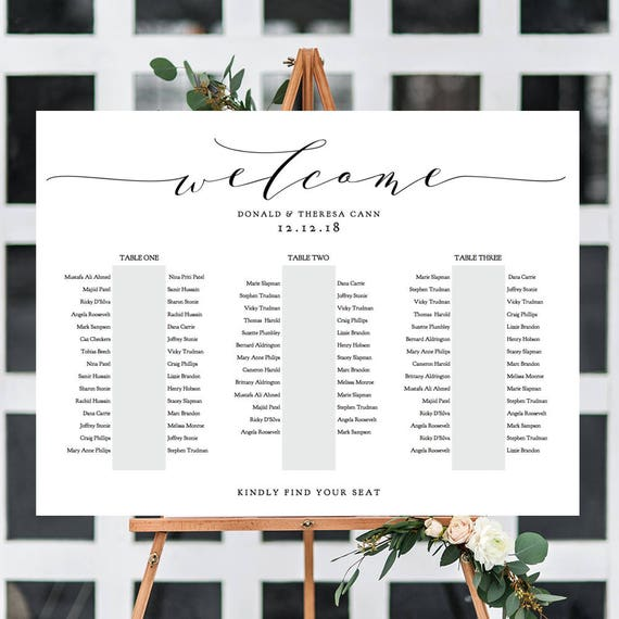 """Banquet Seating Chart 3 Long Tables, Banquet Table Plan Printable Template, """"Wedding"""", 18x24"""" 24x36"""", A1, A2 sizes included Edit in ACROBAT"""