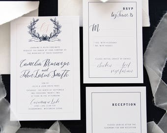 leilani taupe calligraphy wedding invitation sets invitation