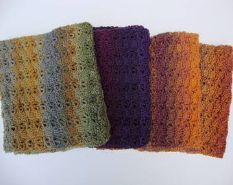 Mom Gift, Sister Gift, Infinity Scarf, Crochet Scarf, Fallen Leaves Scarf, Cowl Scarf, Wool Scarf, Available in Orange, Green and Purple