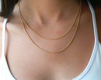 Double layered gold chain necklace -  bridal jewelry - gold bridal chain necklace - wedding jewelry