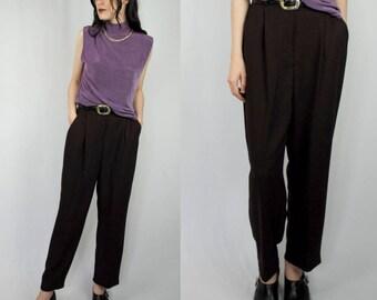 Dark plum/fig purple high waist high rise tapered dress pants 1990s 90s VINTAGE