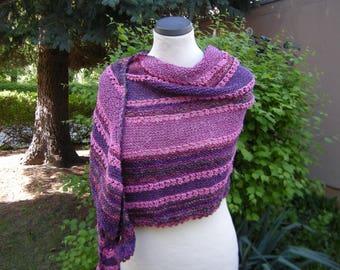 Scarf Wrap Shawl Knitted scarf fuchsia