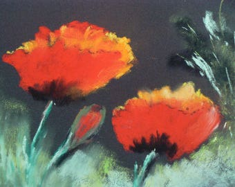 Red poppies made pastel dry