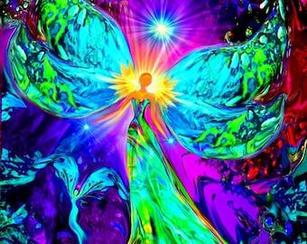 "Angel Art, Rainbow Psychedelic Print, Reiki Energy Meditation ""Vitality"""