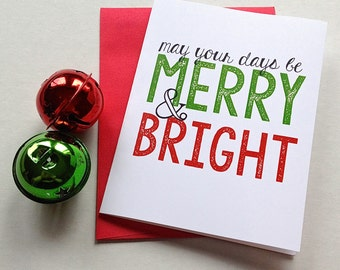 Pretty Christmas Card - White Christmas - Merry & Bright