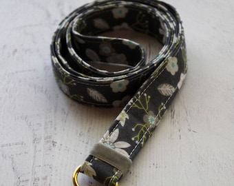 Flower lanyard - floral lanyard - teachers lanyard - gray lanyard - ID badge holder