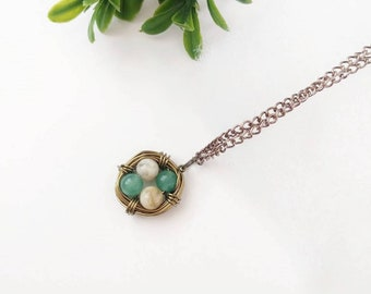 Gift for mom, Nest Necklace, Birds Nest Necklace, Customizable Nest Necklace, 4 egg nest necklace, Mama Bird Necklace, Birthstone Necklace