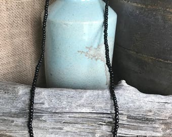 Blue Agate with Black Seed Beads