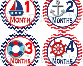 Baby Monthly Baby Stickers Baby Month Stickers Baby Milestone Stickers Nautical Baby Shower Gift Precut Sailboat Baby Boy Stickers Decals
