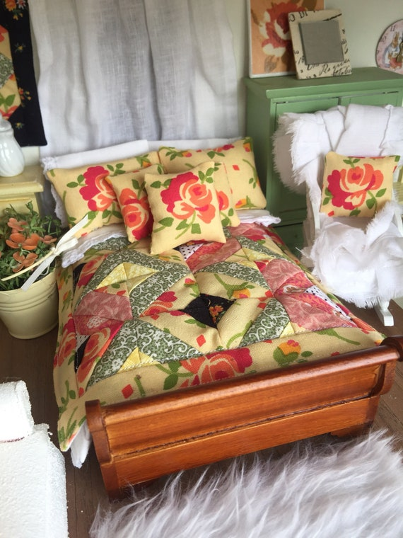 Original Miniature Quilt, Sheet and Dust ruffle set with Bed, Rocking Chair and pillows - 1:12 scale