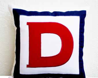 Navy Red Pillow, Personalized Red, Navy Blue Monogram Pillow, Big Letter Pillow, Alphabet Throw Pillow, Customized Letter Cushion, Initial