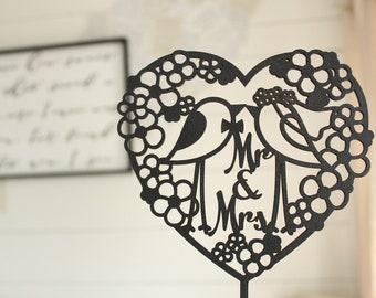 Mr & Mrs Love Birds Cake Topper | Bridal Shower Cake Topper | Wood Cake Topper | Floral Wreath Cake Topper | Heart Cake Topper