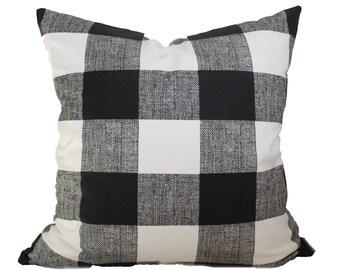 Black Buffalo Check Pillow Cover