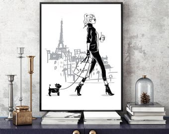 Fashion girl art, Paris print, Fashion girl print, Girl with dog, Fashion illustration, Fashion art print,Watercolor fashion, Fashion sketch