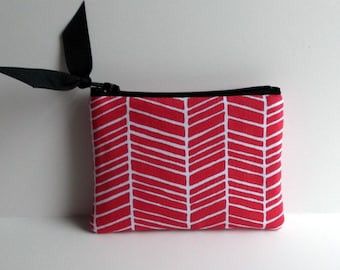 Coin Purse,little zip pouch, Ear bud case, zipper coin purse, small tech bag,Pink,Gray chevron,hot pink dot, In stock ships ASAP