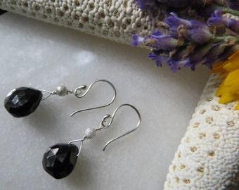 Black Garnet Earrings, Faceted Garnet Earrings, Sterling Silver Earrings, Drop Earrings, Semi-Precious Gemstone Earrings, Black Garnet Gems