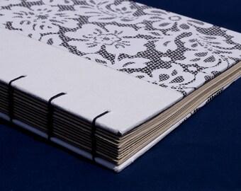 Black & white Coptic binding paisley notebook / journal
