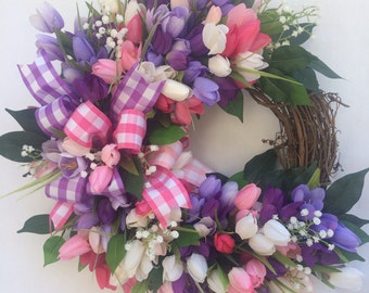 Grapevine tulip wreath,checkered ribbon with pink, purple and white tulips