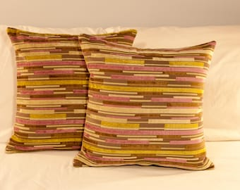 Linear Lavender Green Pillow Set
