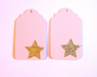Twinkle Twinkle Little Star Favor Tags | Personalized Gift Tags | Customized Favor Tags | Pink and Gold Stars | Star Party Decorations,