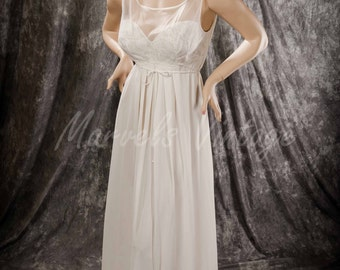 Vintage Vanity Fair Nightgown White Long Negligée Chiffon over Lace Bodice Size 36 Bridal Honeymoon