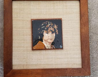 Impressionist Style Original Frodo 3x3 Painting with Frame, Inspired by LOTR