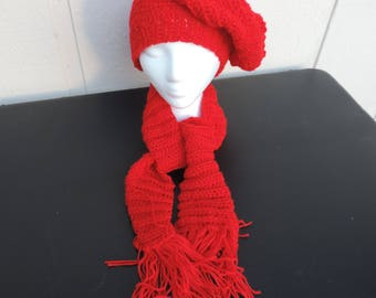 Red Hand Crocheted Child's Slouch Hat Scarf, NEW