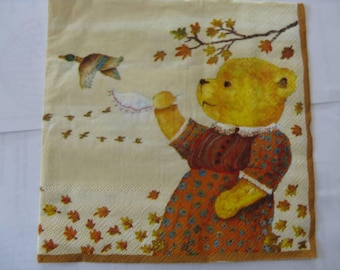set of 2 bear paper napkins