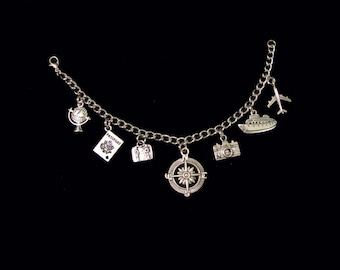 CUSTOM TRAVEL Charm Bracelet, Key Chain, Purse Charms or Rear View Mirror Charms - Your Choice Of Charms!