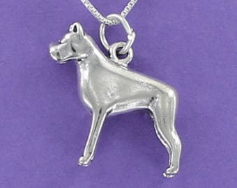 Boxer Dog Necklace - 925 Sterling Silver on Card with Quote