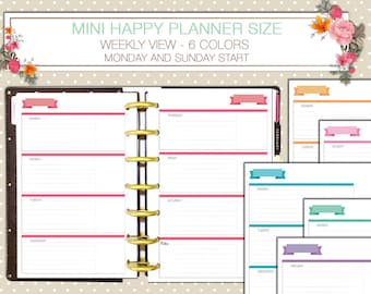 Mini Happy Planner Weekly printable inserts horizontal layout sunday start monday start week on two pages