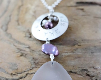 """Light Lavender PEI Seaglass Necklace, Stamped sterling silver disc """"By the Sea"""" sterling silver rolo chain, freshwater pearls"""