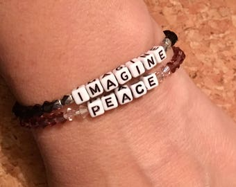 Imagine Peace stretchy elastic glass bead bracelet set