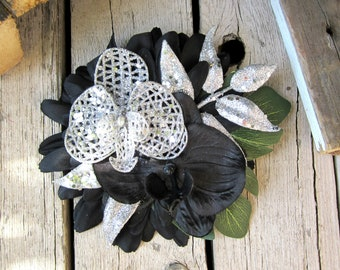 Black and Silver Orchid Tiki Hair Clip-Tropical Accessory, Black and Silver Fascinator, Pinup