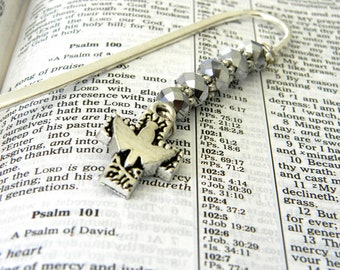 Holy Spirit Cross Bookmark with Silver Glass Beads Silver Plated Steel Bookmark Dove Bookmark