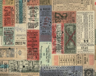 Tim Holtz Eclectic Elements  Correspondence - Transportation Tickets - Multi- Fabric