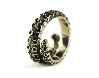 Oktopus Tentakel Ring Antik Silber Farbe verstellbaren Ring Wrap Ring Boho Steampunk Schmuck - FRI005