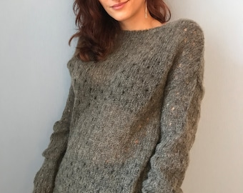 Knitted sweater Transparent gray knitted mohair soft women sweater Cozy sweater Lightweight sweater Elegant sweater Casual chic
