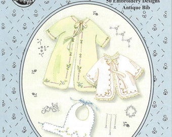Baby's Sacque & Wrapper Pattern /  50 Embroidery Designs /  Antique Bib Pattern / Layette / Jeannie Baumeister / The Old Fashioned Baby