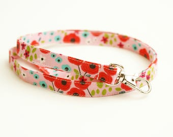 Fabric Lanyard - Pink and Aqua Floral - 1/2 Inch Skinny Key Strap - ID Badge Holder - 15.5 to 19.5 Inch Long Drop - Cute Teacher Lanyard