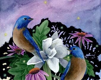 Fine Art Print of Original Watercolor Painting - Singing Birds