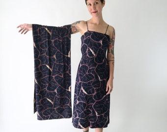 1940s Printed Rayon Dress and Shawl / Vintage 40s Tiki Outfit