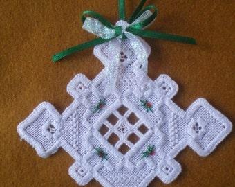 "Hardanger Holiday Ornament  -   ""Snowflake"""