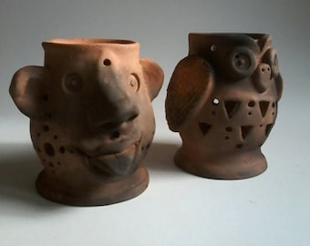 Two table tealight,dancingharepottery,tealight lanterns,lanterns, home and living,planters and pots, home décor, terracotta pottery, owl