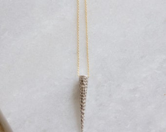 Hammered Spike, Silver and Gold Necklace