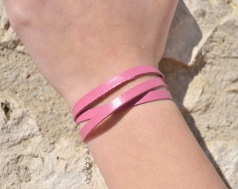 Pink leather bracelet for women and children
